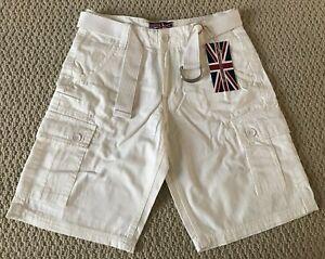 NWT Men's Revolution Milk White Cotton Cargo Pocket Shorts w/ Belt SIZES 32 38