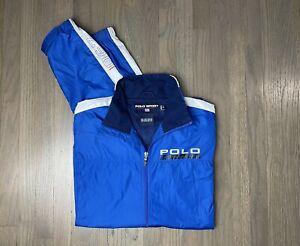 Ralph Lauren Polo Sport Jacket Men Sz Medium Blue White Zip Up PS RL 67