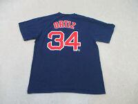 Boston Red Sox Shirt Adult Extra Large Blue David Ortez Majestic Baseball Mens *