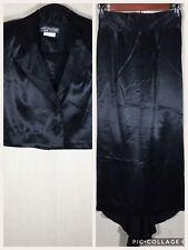 Vintage All That Jazz Sz 5 Black Satin 2 Piece Crop Jacket High Waist Skirt