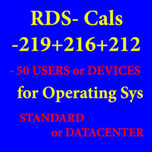 Rds Cals Users Devices 50, 2012 2016 2019 SV Remote, Desktop, Services, System
