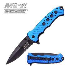 Spring-Assist Folding Pocket Knife Mtech Black Serrated Stiletto Blade Blue Tac