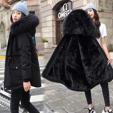 Womens Faux Fur Coat Hooded Parka Ladies Winter Fleece Lined Zip Jacket Outwear