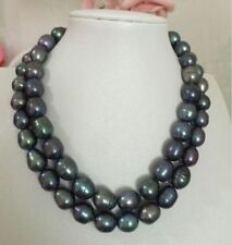 "HUGE 32""12-14mm natural south sea genuine baroque black grey pearl necklace 9AAA"