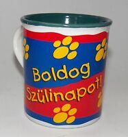 VTG Garfield Happy Birthday Mug Boldog Szulinapot Hungarian Cake