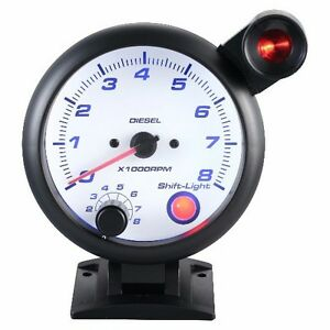 95 mm 3 3/4 inches Tachometer Gauge 0-8000 RPM outside shift light For Diesel