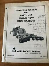 Allis Chalmers Operators Manual Amp Parts List Model Kt Disc Harrow Form Tpl511b