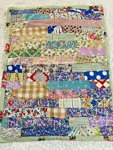 """Vintage Handmade Feed sack Scrap Stripes  Quilt 20"""" x 27"""" Doll or wall"""