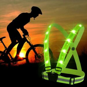 nw Adjustable USB Rechargeable LED Reflective Belt Vest for Running Cycling