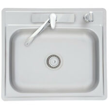 Franke 22-in x 25-in Single-Basin Top-mount Sink w/ Faucet, Spray, Drain Catch