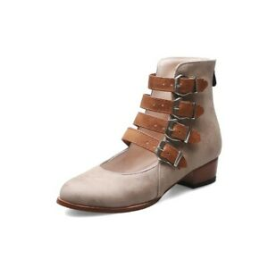 Classic Retro Women's Buckle Western Short Boots Low Heel Non-Slip Cowboy Shoes