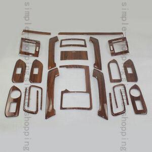 22PCS Wood Grain Inner Trim Kit Full Set Cover For Toyota Prado FJ150 2010-2016