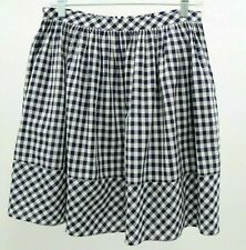 Norma Kamali Skirt Womens Gingham 6A White Blue Check Pleated Cotton