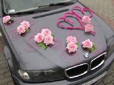 Mariage voiture décoration Set Kit Ruban Limousine 2 coeurs roses et Set de fleurs