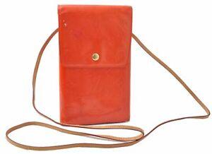 Authentic Louis Vuitton Vernis Walker Shoulder Wallet Orange LV C9377