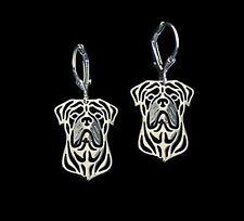 Bull Mastiff  Dog Earrings-Fashion Jewellery Silver Plated, Leverback Hook