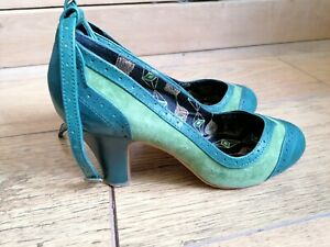 Miss L Fire Size 7/40 Green Vintage Style Two-tone Heels