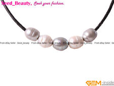 9-10mm Silver and White 5pcs Freshwater Pearls Black Leather Cord Necklace 17.5""