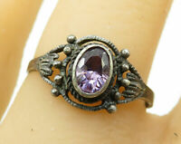 925 Sterling Silver - Vintage Petite Amethyst Solitaire Ring Sz 8.5 - R3742