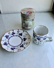 TWO miniature porcelains - cup and saucer and Chinese cylindrical jar, marked