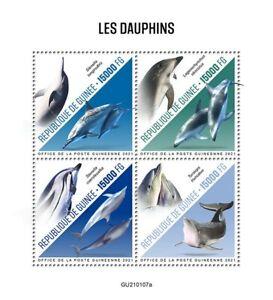 Guinea Dolphins Stamps 2021 MNH Bottlenose Dolphin Marine Animals 4v M/S