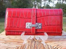 Kenneth Cole Red Leather Wallet Croc Embossed Silver GUC!