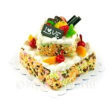 Miniatura Grande Fatta A Mano Due Piani Bianco Ghiacciati Torta Di Frutta
