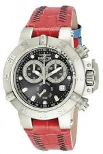 New Womens Invicta 11626 Subaqua Chronograph Red Leather Watch