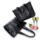 black Women's Polyurethane Leather Handbag Shoulder Lady Bag Tote Satchel Purse
