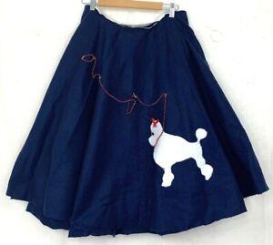"Handmade Poodle Skirt Vtg Felt Blue Dog Sock Hop Rockabilly Costume 32"" Waist"