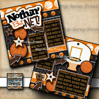 BASKETBALL 2 premade SCRAPBOOK pages paper piecing girl or boy SPORTS DIGISCRAP