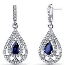 Created Blue Sapphire Chandelier Drop Earrings Sterling Silver 1 Carats