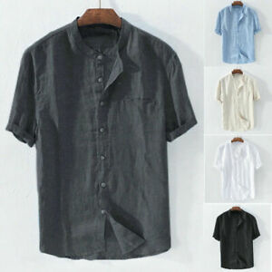 Mens Linen Cotton Short Sleeve Tops Round Neck Casual T-shirts Pullover Blouse