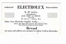 Electrolux Vacuum Business Card --Reading Michigan 2 digit phone number--RARE