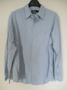 Chemise polo by RALPH LAUREN Custom Fit bleu ciel blanc manches longues XL