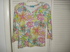 FRESH PRODUCE V NECK MULTI COLORED  PRINT PULLOVER TOP SZ M EUC 100% COTTON