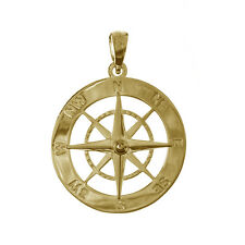 Compass, 14k Yellow Fine Gold Nautical Necklace Charm Pendant, 21mm diameter