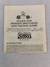 Parker Brothers Formula One Board Game Instruction Book Rules Manual