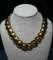 "Vintage Monet Gold Tone Disc Collar Choker Necklace 18-20"""