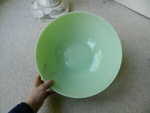 "Large 13.5"" Diameter Jadeite Glass Bowl"