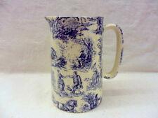 blue toile de jouy design 1 pint pitcher jug by Heron Cross Pottery