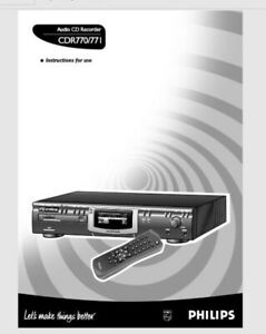 Phillips CDR 770 771 Audio CD Player Recorder Operating Instruction USER MANUAL
