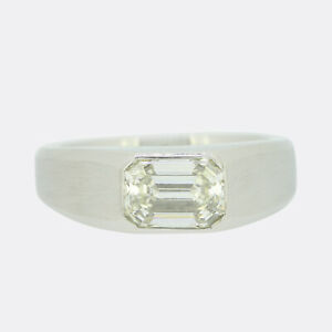 Platinum Diamond Ring- 1.96 Carat Emerald Cut Diamond Solitaire Ring Platinum