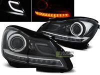 Coppia Fari Anteriori Mercedes W204 Classe C 2011-Neri con Coppia Frecce LED IT