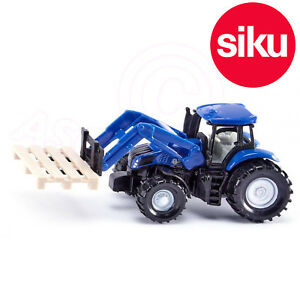 Siku No 1487 New Holland Tractor with Fork Loader and Pallet - Dicast Model