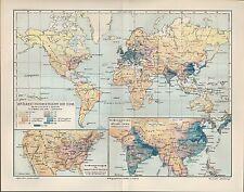 Landkarte map 1905: Bevölkerungsdichtigkeit der Erde. Bevölkerung-s-Dichte