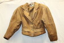 ADA Womens Leather Short Bodied Crop Jacket Western Tan Size Small VINTAGE