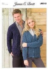 Ladies and Man's Cardigans JB212 Knitting Pattern James C Brett Aran