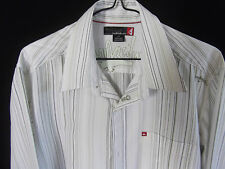 QUIKSILVER Mens L/S White/Green Striped Casual shirt size S