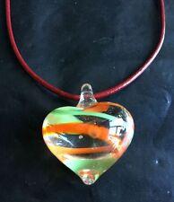 Nice heart shape stripe Lampwork Glass Murano Pendant Necklace Cord 4 colors